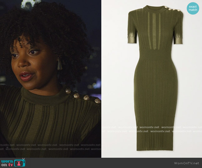 Button-embellished metallic ribbed silk, wool and cashmere-blend midi dress by Balmain worn by Chasten Harmon on The Good Fight