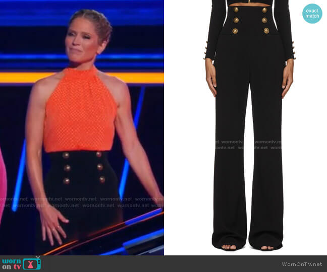 High-Waist Bootcut Trousers by Balmain worn by Sara Haines  on The Chase