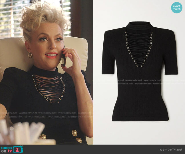 Lace-Up Ribbed-Knit Top by Balmain worn by Alexis Carrington (Elaine Hendrix) on Dynasty