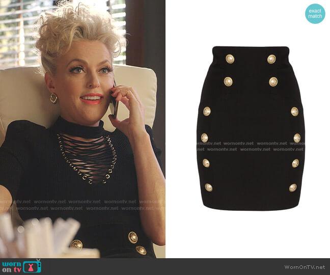 Button-Detail Mini Skirt by Balmain worn by Alexis Carrington (Elaine Hendrix) on Dynasty