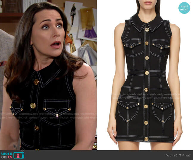 Balmain Denim Short Dress worn by Quinn Fuller (Rena Sofer) on The Bold & the Beautiful