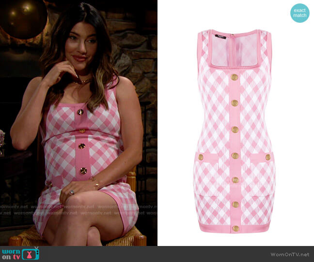 Balmain Gingham Jacquard Dress worn by Steffy Forrester (Jacqueline MacInnes Wood) on The Bold & the Beautiful