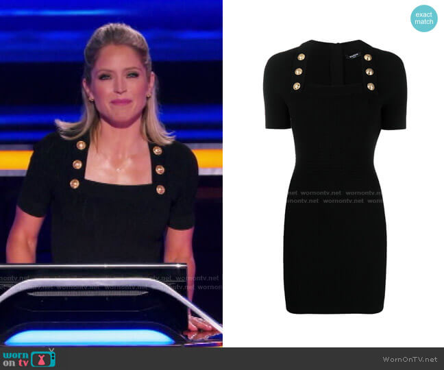 Square Neck Fitted Dress by Balmain worn by Sara Haines  on The Chase