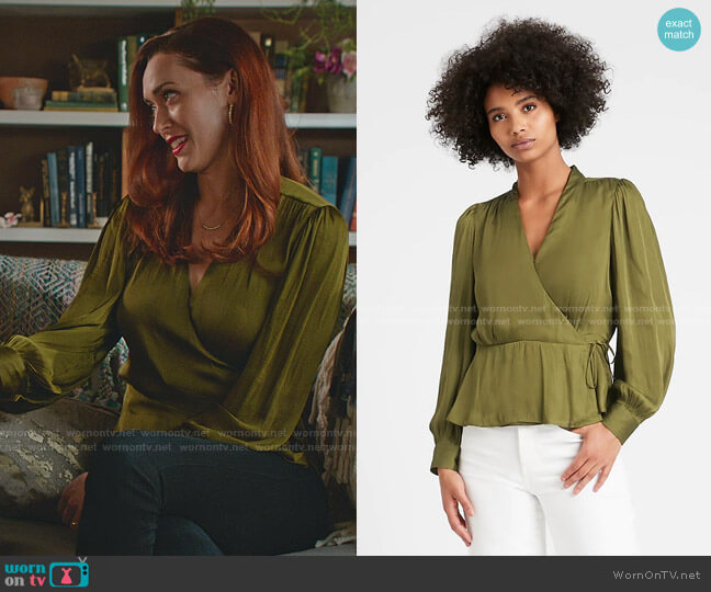 Soft Satin Wrap Top by Banana Republic worn by Abigail Pershing (Sarah Power) on Good Witch