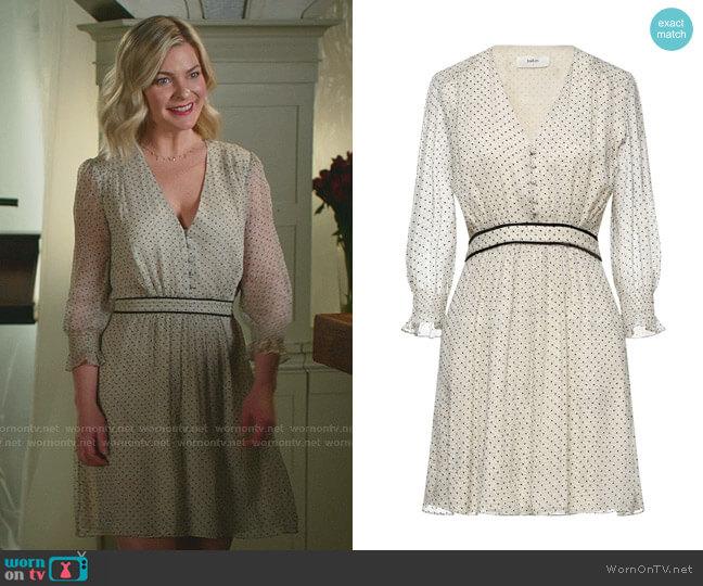 Polka Dot Velvet-Trim Dress by Ba&Sh worn by Stephanie Borden (Kylee Evans) on Good Witch