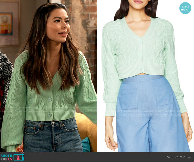 Bcbgeneration Cable-Knit Cropped Cardigan worn by Carly Shay (Miranda Cosgrove) on iCarly