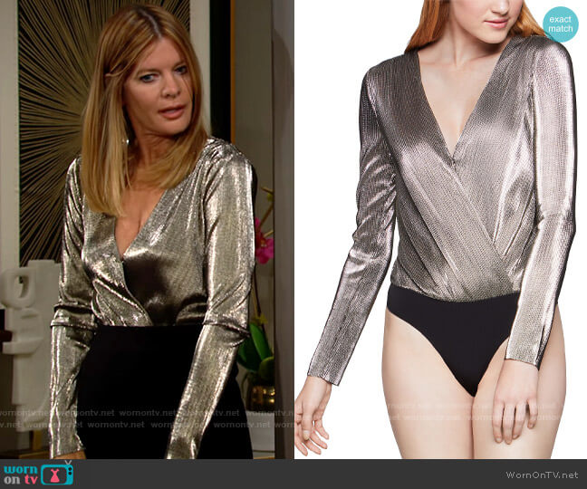 Bcbgeneration Metallic Surplice Bodysuit worn by Phyllis Summers (Michelle Stafford) on The Young & the Restless