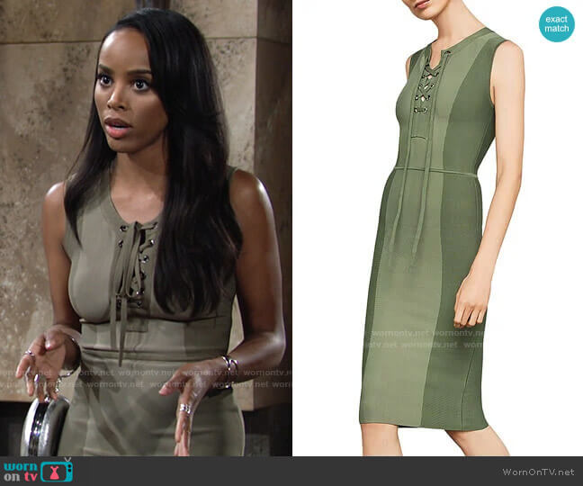 Bcbgmaxazria Safari Lace-Up Body-Con Dress worn by Imani Benedict (Leigh-Ann Rose) on The Young & the Restless