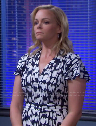 Belle's blue printed belted dress on Days of our Lives
