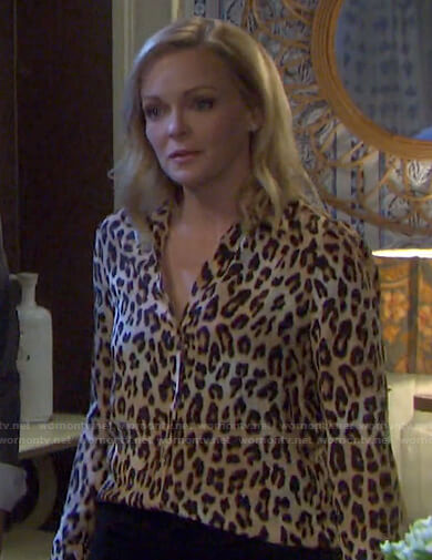 Belle's leopard print blouse on Days of our Lives