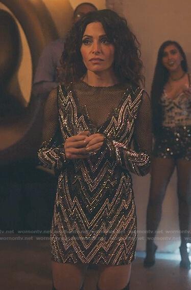Billie's rhinestone zig-zag mini dress on Sex/Life