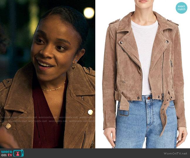 Blank NYC Suede Moto Jacket worn by Mia Brooks (Rachel Hilson) on Love Victor