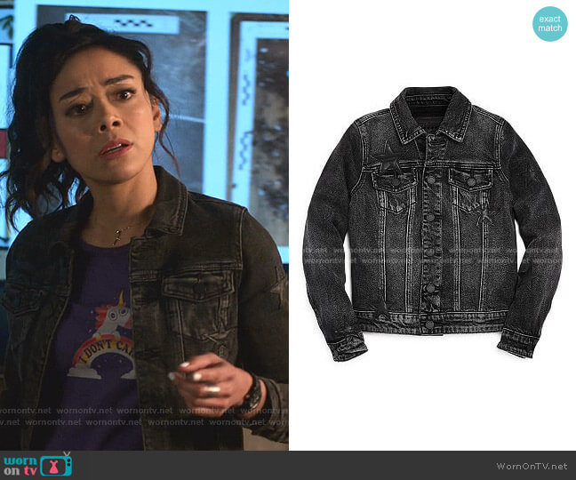 Girls' Star Patches Denim Jacket by Blank NYC worn by Ella Lopez (Aimee Garcia) on Lucifer