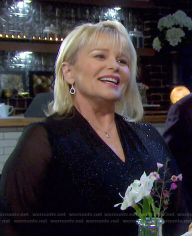 Bonnie's metallic sheer-sleeve dress on Days of our Lives