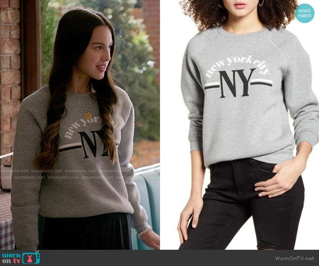 BP NYC Graphic Sweatshirt worn by Nini (Olivia Rodrigo) on High School Musical The Musical The Series