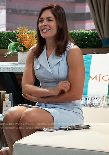 Britt's blue sleeveless moto dress on General Hospital