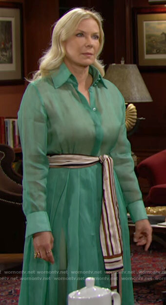 Brooke's green shirtdress with striped tie waist on The Bold and the Beautiful