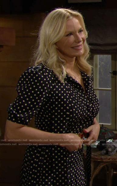 Brooke's black polka dot shirtdress on The Bold and the Beautiful