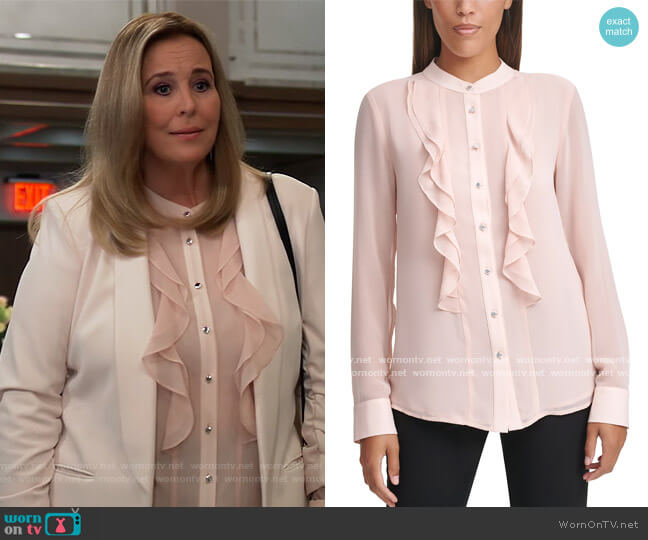 Ruffle Blouse by Calvin Klein worn by Laura Collins (Genie Francis) on General Hospital