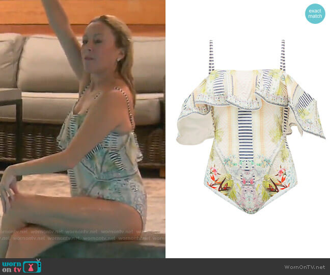 Beach Shack Off-the-Shoulder Swimsuit by Camilla worn by Sutton Stracke  on The Real Housewives of Beverly Hills