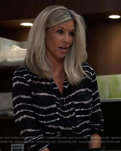 Carly's black tie dye shirt on General Hospital