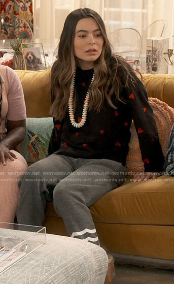 Carly's heart print sweatshirt and striped pants on iCarly