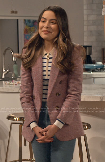 Carly's striped polo sweater and pink blazer on iCarly