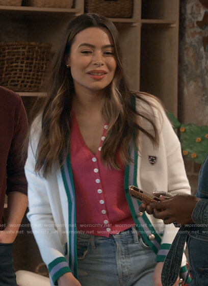 Carly's pink buttoned sweater and white cardigan with green striped trim on iCarly