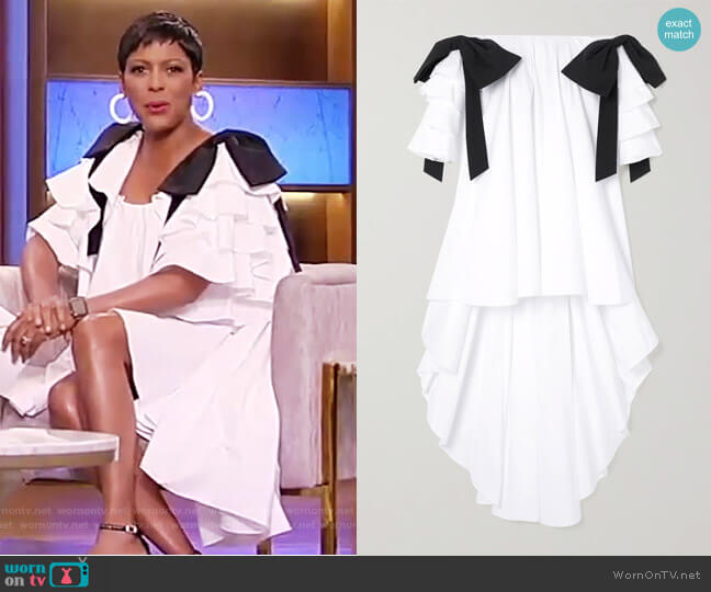 Fiona off-the-shoulder asymmetric ruffled cotton-blend dress by Caroline Constas worn by Tamron Hall  on Tamron Hall Show