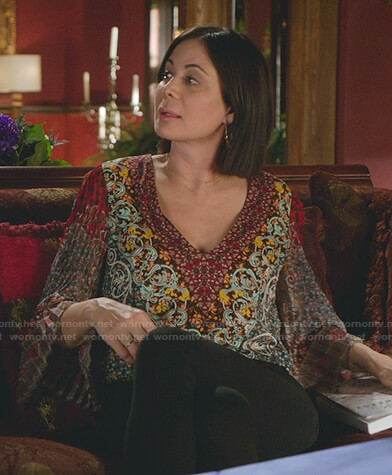 Cassie's printed pleated sleeve top on Good Witch