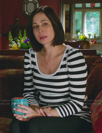Cassie's black and white striped sweater on Good Witch