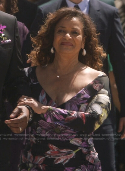 Catherine's black floral dress on Greys Anatomy