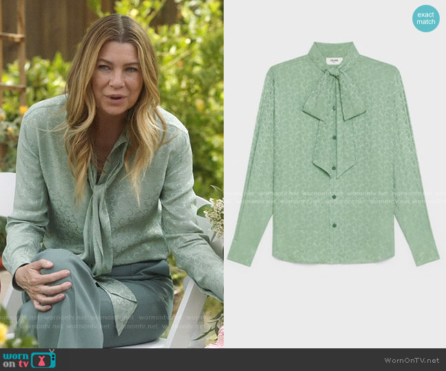 Loose Shirt in Silk Jacquard Mint by Celine worn by Meredith Grey (Ellen Pompeo) on Greys Anatomy
