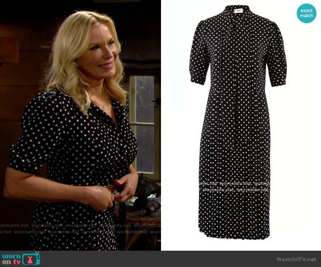 Celine Polka-dot printed silk ascot tie pleated midi dress worn by Brooke Logan (Katherine Kelly Lang) on The Bold & the Beautiful