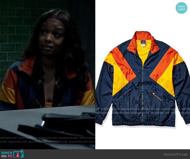 Champion Navy/Burnt Orange/C. Gold Nylon Warm Up Jacket worn by Ryan Wilder (Javicia Leslie) on Batwoman
