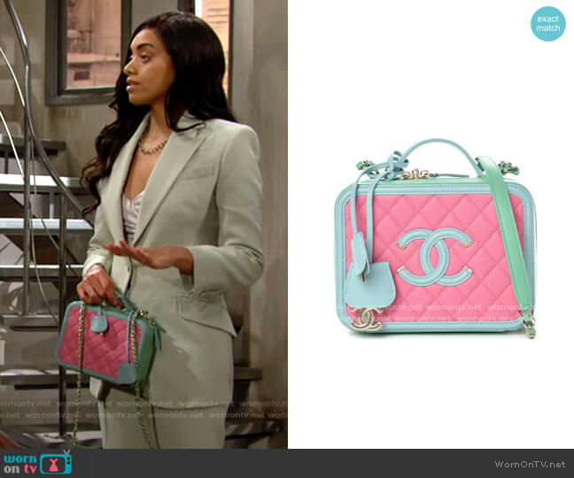 Chanel Caviar Quilted Medium CC Filigree Vanity Case Pink Green Blue worn by Zoe (Kiara Barnes) on The Bold & the Beautiful