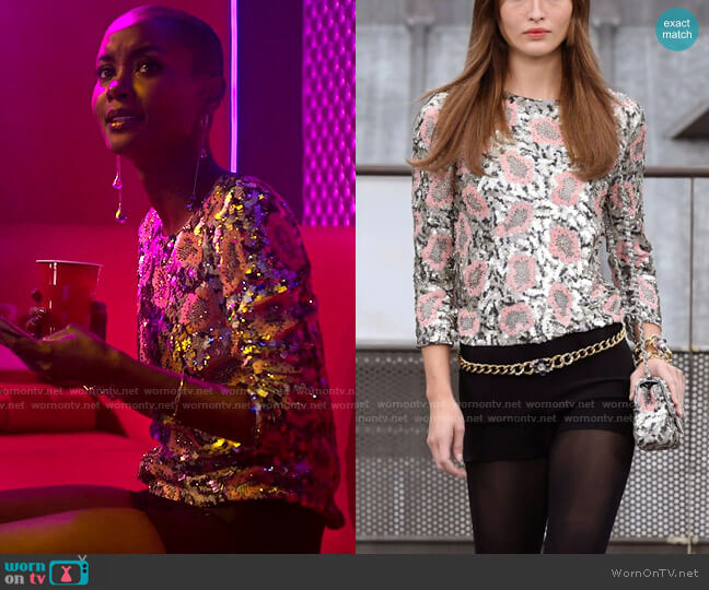 Chanel SS20 Top worn by Ella McFair (Andrea Bordeaux) on Run the World