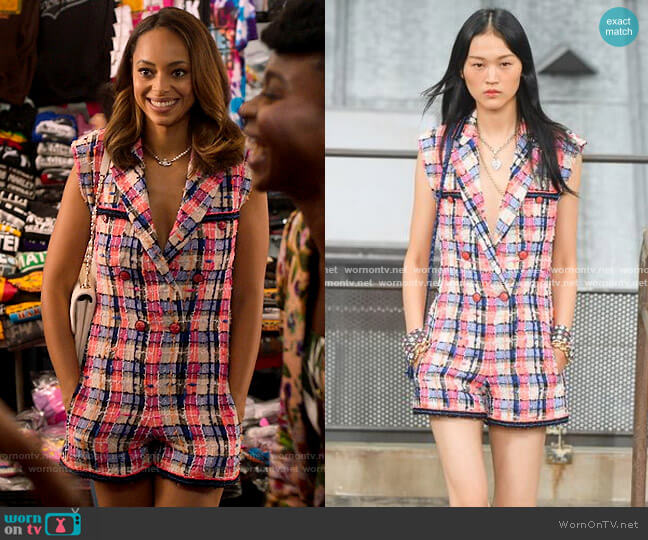 Chanel SS20 Playsuit worn by Whitney Green (Amber Stevens West) on Run the World