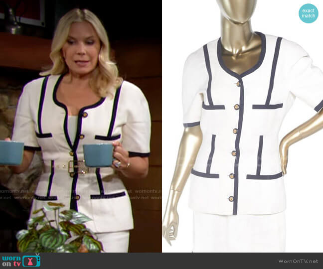 Chanel Vintage Linen Skirt Set worn by Brooke Logan (Katherine Kelly Lang) on The Bold & the Beautiful