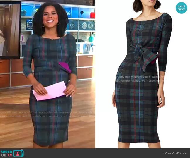 La Petite Robe di Chiara Boni Plaid Thayna Sheath Dress worn by Adriana Diaz  on CBS Mornings