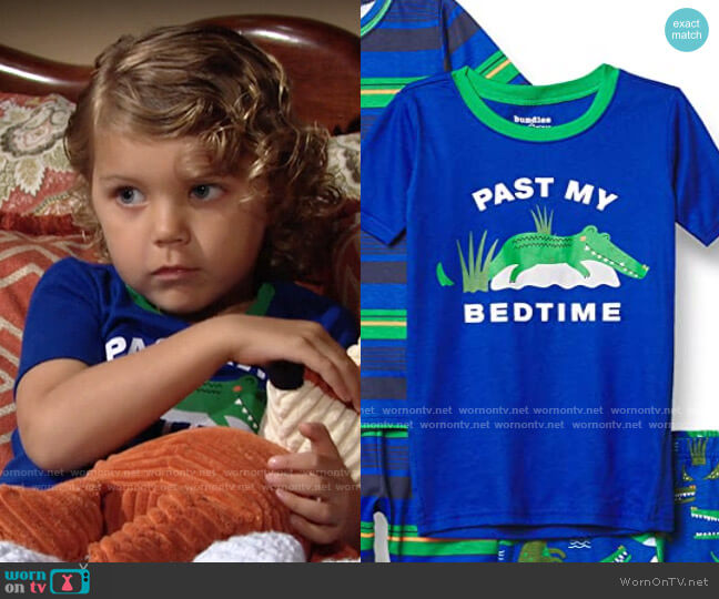 The Childrens Place Alligator Striped Snug Fit Cotton 4-Piece Pajamas worn by Harrison Locke on The Young and the Restless