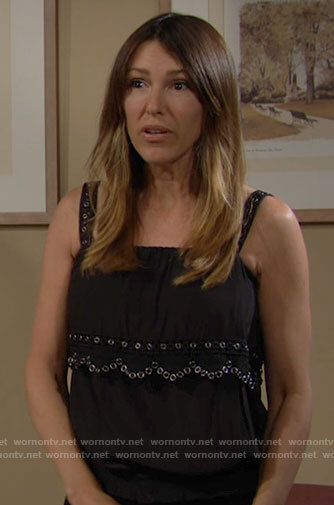 Chloe's black grommet trim top on The Young and the Restless