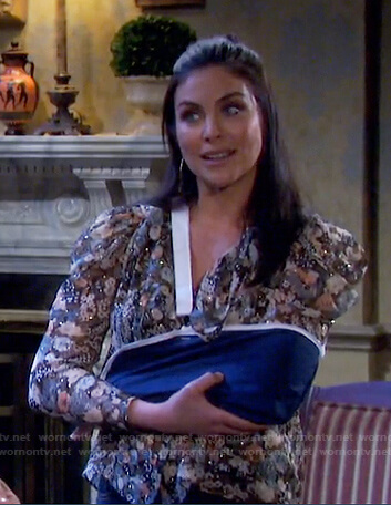 Chloe's metallic floral blouse on Days of our Lives