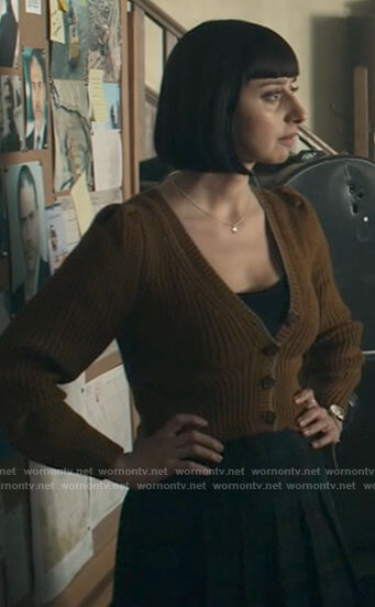 Chrissy's mustard cropped cardigan on Superman and Lois