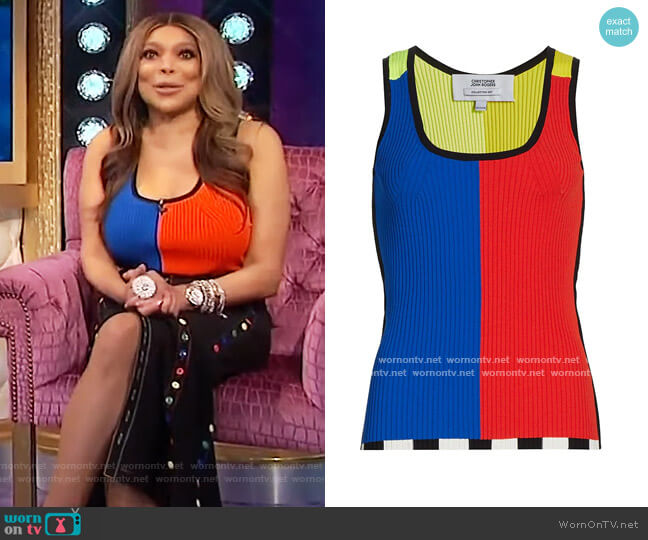 Color Block Ribbed Tank Top by Christopher John Rogers worn by Wendy Williams  on The Wendy Williams Show