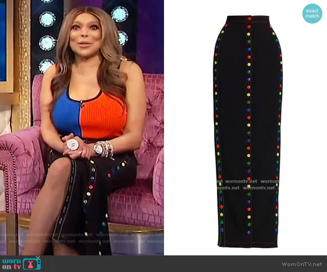 Ultra Slim Button Maxi Skirt by Christopher John Rogers worn by Wendy Williams  on The Wendy Williams Show