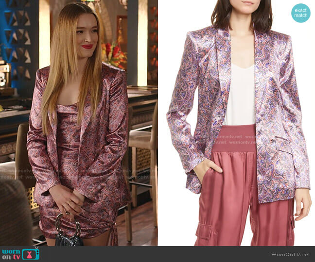 Estelle Paisley Satin Blazer by Cinq a Sept worn by Kirby Anders (Maddison Brown) on Dynasty