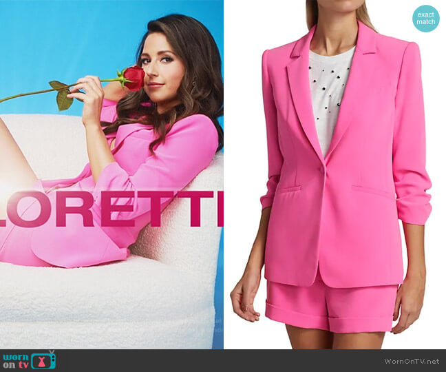 Khloe Crepe Ruched Blazer and Shorts by Cinq a Sept worn by Katie Thurston  on The Bachelorette