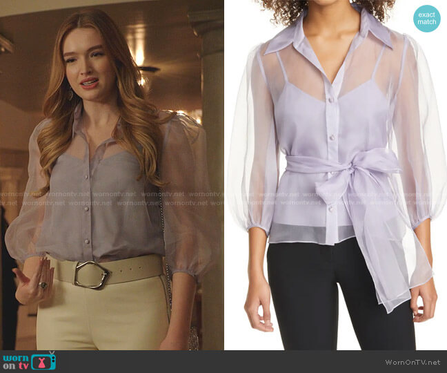Marion Belted Silk Blouse by Cinq a Sept worn by Kirby Anders (Maddison Brown) on Dynasty