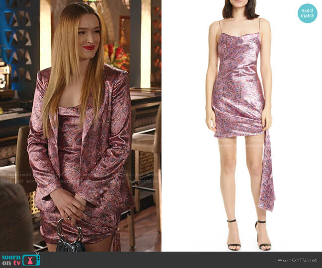 Ryder Paisley Satin Minidress by Cinq a Sept worn by Kirby Anders (Maddison Brown) on Dynasty